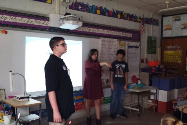 NJCTS Youth Advocates Wyatt Gray and Sarah and Eric Baldwin give a TS presentation at Bells Elementary School in Turnersville, NJ
